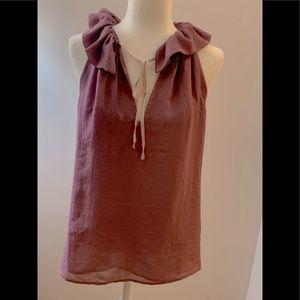 Loft Ruffled lavender blouse, size M